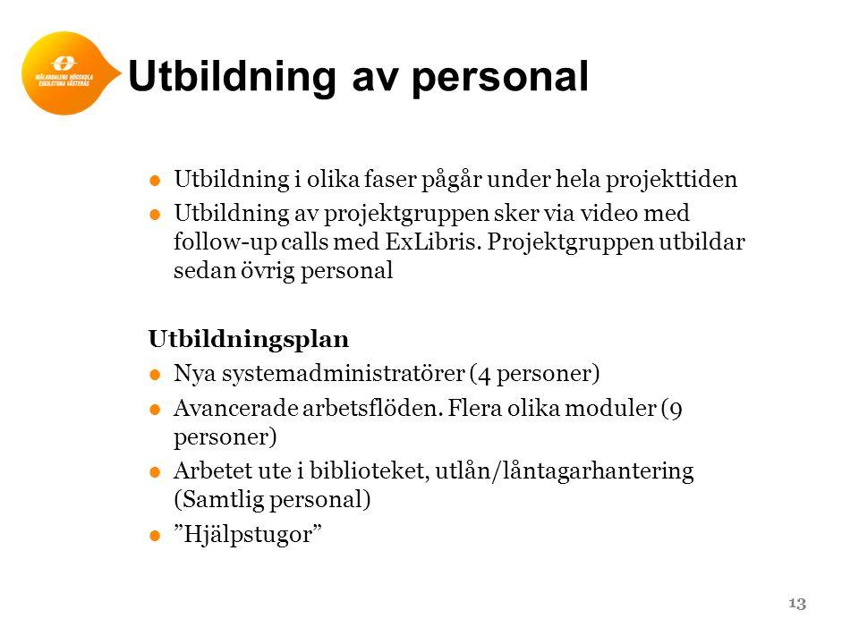 Utbildning av personal ●Utbildning i olika faser pågår under hela projekttiden ●Utbildning av projektgruppen sker via video med follow-up calls med ExLibris.