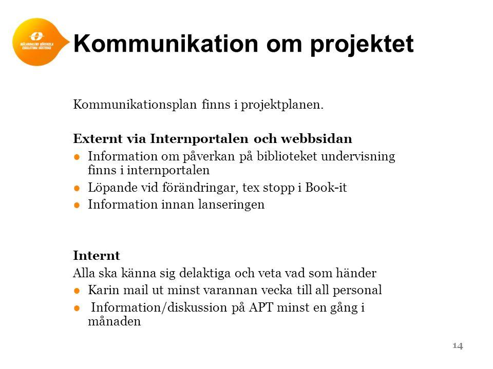 Kommunikation om projektet Kommunikationsplan finns i projektplanen. Externt via Internportalen och webbsidan ●Information om påverkan på biblioteket