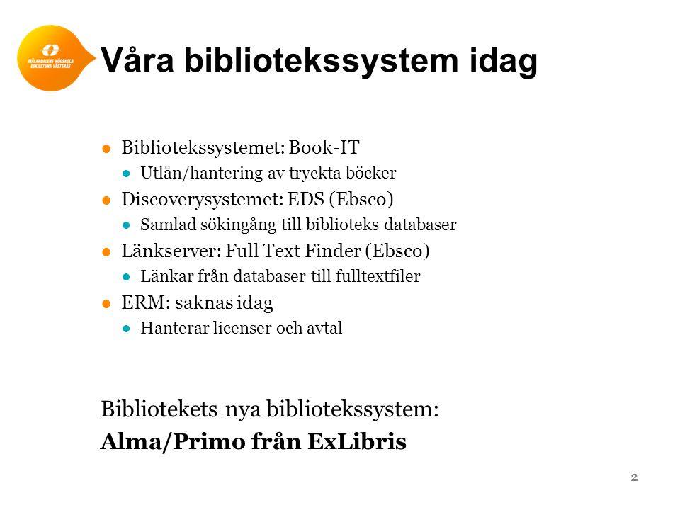 Våra bibliotekssystem idag ●Bibliotekssystemet: Book-IT ●Utlån/hantering av tryckta böcker ●Discoverysystemet: EDS (Ebsco) ●Samlad sökingång till biblioteks databaser ●Länkserver: Full Text Finder (Ebsco) ●Länkar från databaser till fulltextfiler ●ERM: saknas idag ●Hanterar licenser och avtal Bibliotekets nya bibliotekssystem: Alma/Primo från ExLibris 2