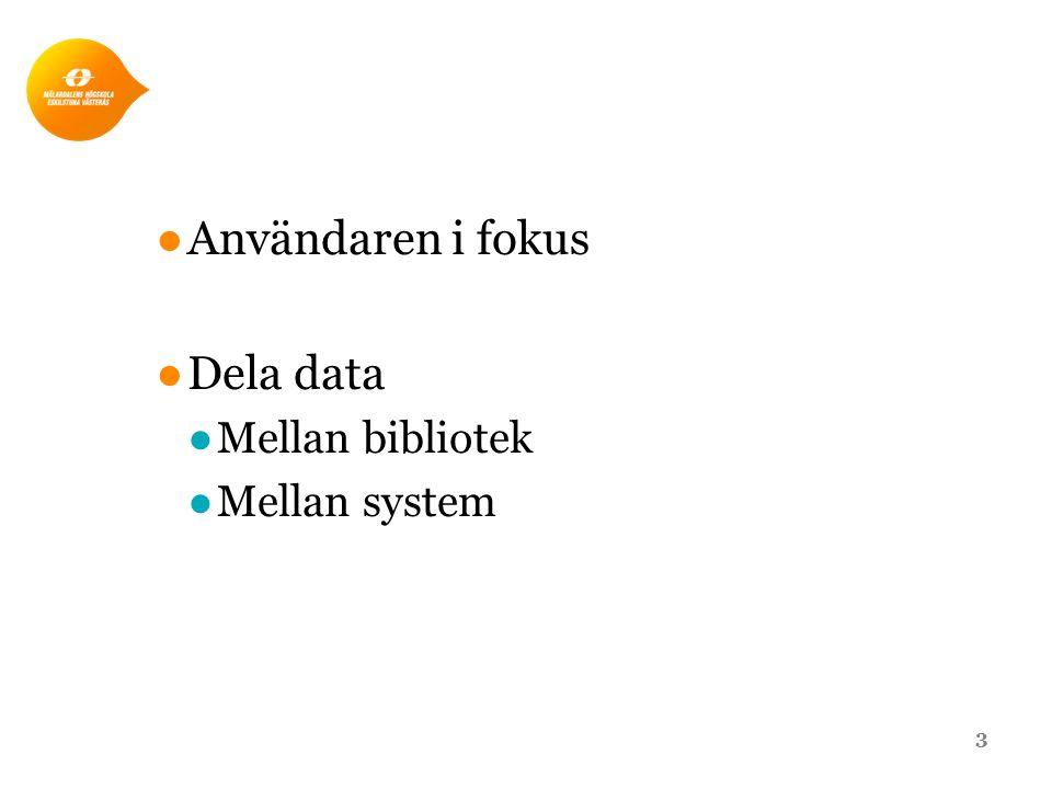 ●Användaren i fokus ●Dela data ●Mellan bibliotek ●Mellan system 3
