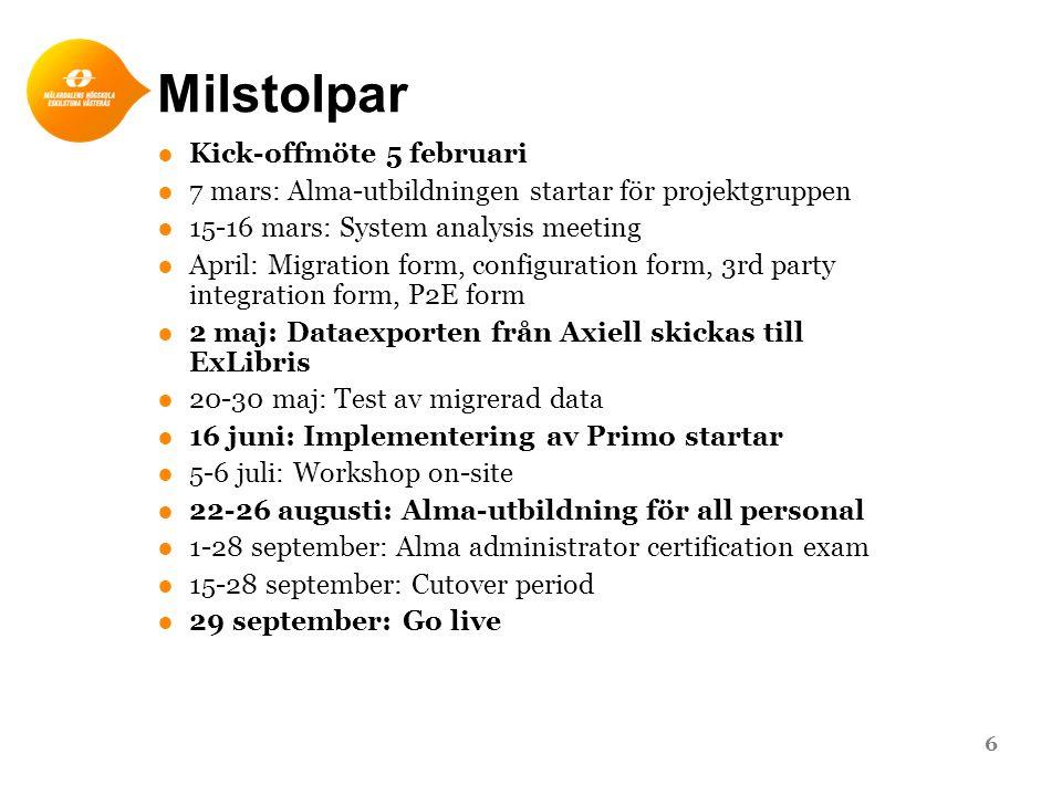Milstolpar ●Kick-offmöte 5 februari ●7 mars: Alma-utbildningen startar för projektgruppen ●15-16 mars: System analysis meeting ●April: Migration form,
