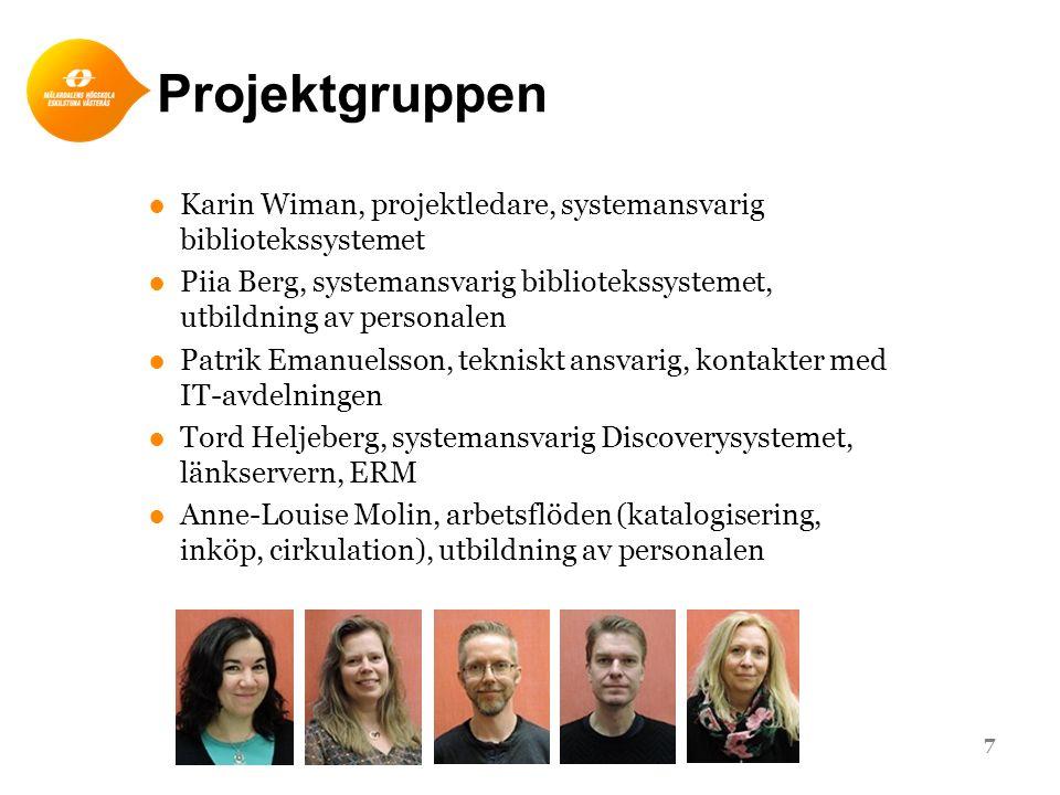 Projektgruppen ●Karin Wiman, projektledare, systemansvarig bibliotekssystemet ●Piia Berg, systemansvarig bibliotekssystemet, utbildning av personalen