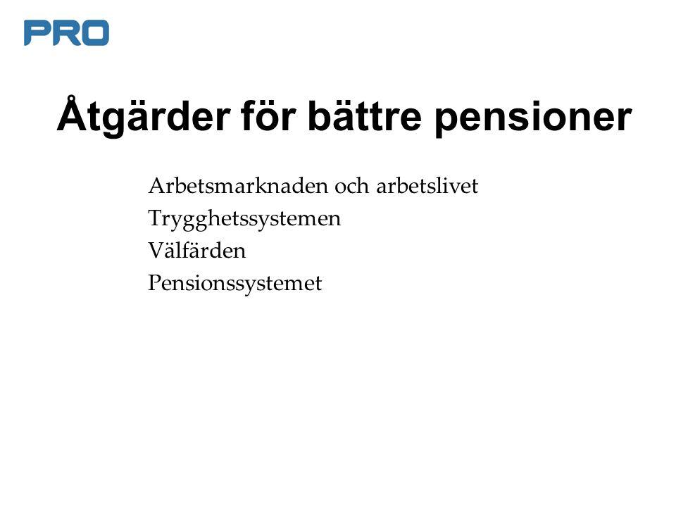 Åtgärder för bättre pensioner Arbetsmarknaden och arbetslivet Trygghetssystemen Välfärden Pensionssystemet