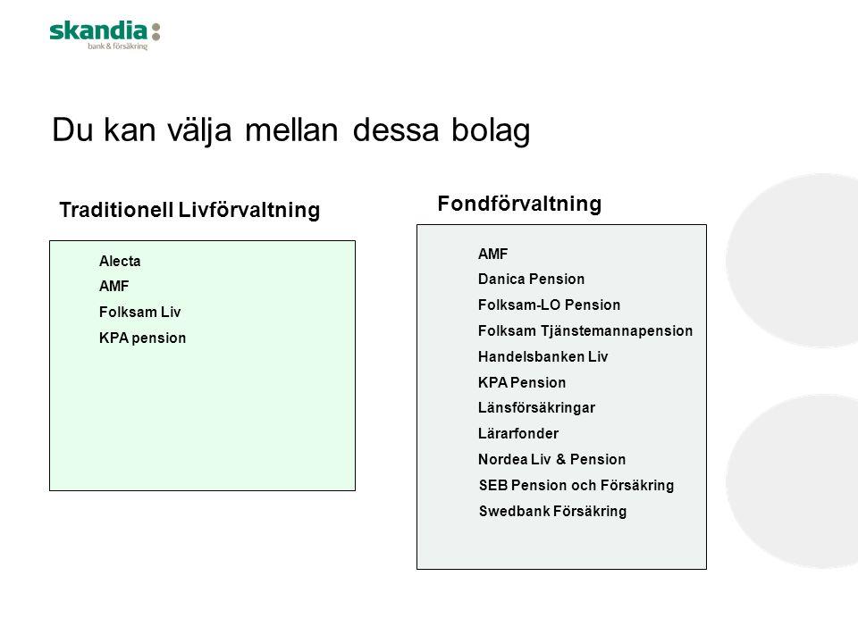 Du kan välja mellan dessa bolag Traditionell Livförvaltning Fondförvaltning Alecta AMF Folksam Liv KPA pension AMF Danica Pension Folksam-LO Pension F