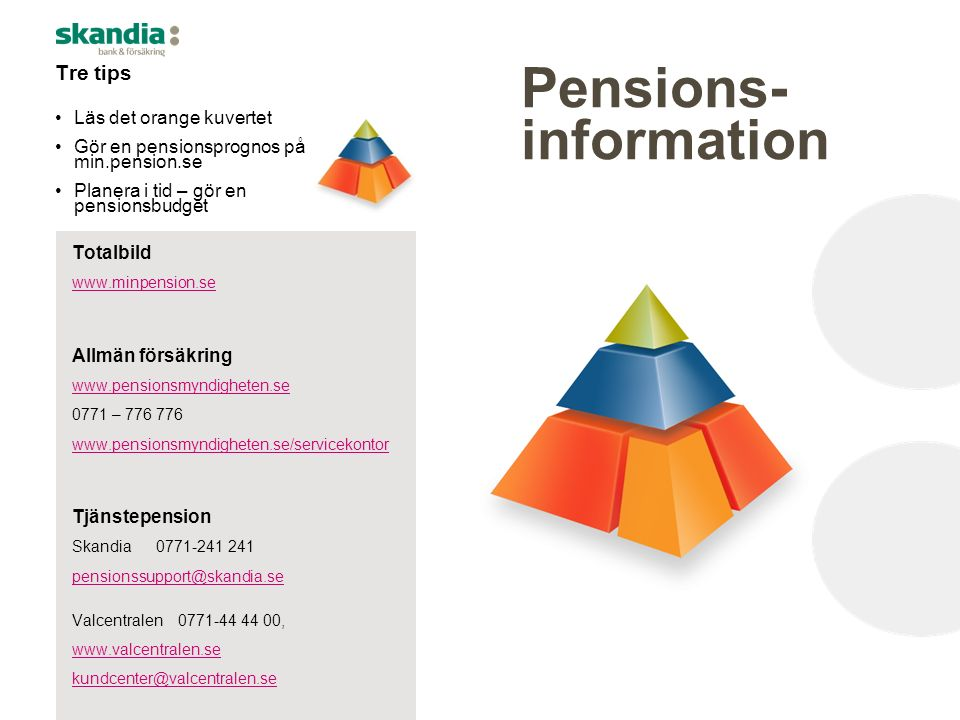 Pensions- information Tre tips Läs det orange kuvertet Gör en pensionsprognos på min.pension.se Planera i tid – gör en pensionsbudget Totalbild www.mi