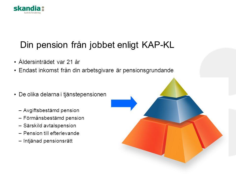 Din pension från jobbet enligt KAP-KL Åldersinträdet var 21 år Endast inkomst från din arbetsgivare är pensionsgrundande De olika delarna i tjänstepen