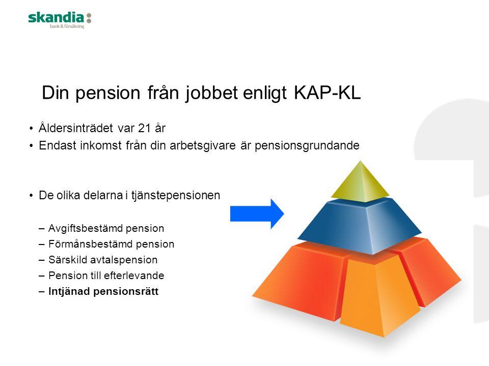 Din pension från jobbet enligt KAP-KL Åldersinträdet var 21 år Endast inkomst från din arbetsgivare är pensionsgrundande De olika delarna i tjänstepensionen –Avgiftsbestämd pension –Förmånsbestämd pension –Särskild avtalspension –Pension till efterlevande –Intjänad pensionsrätt
