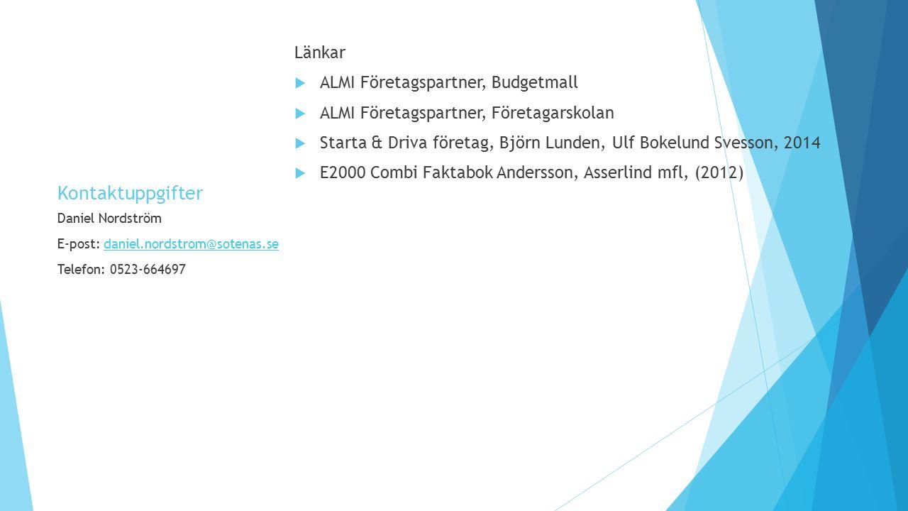 Kontaktuppgifter Länkar  ALMI Företagspartner, Budgetmall  ALMI Företagspartner, Företagarskolan  Starta & Driva företag, Björn Lunden, Ulf Bokelun