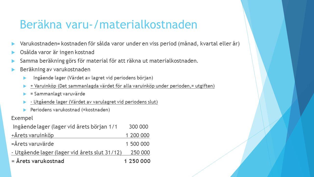 Beräkna varu-/materialkostnaden  Varukostnaden= kostnaden för sålda varor under en viss period (månad, kvartal eller år)  Osålda varor är ingen kost