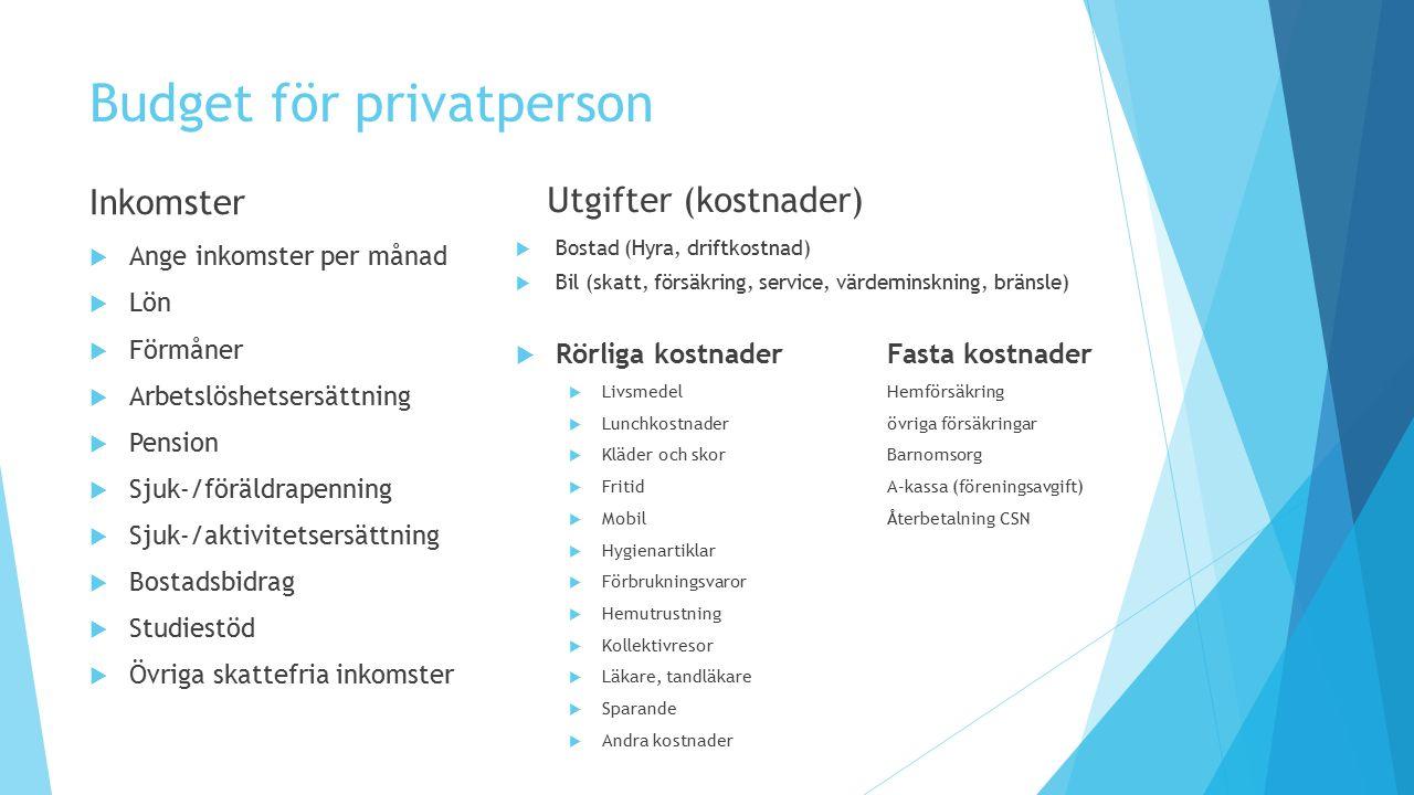 Budget för privatperson Inkomster  Ange inkomster per månad  Lön  Förmåner  Arbetslöshetsersättning  Pension  Sjuk-/föräldrapenning  Sjuk-/akti