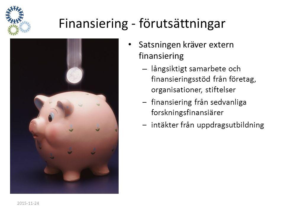 Finansiering - förutsättningar Satsningen kräver extern finansiering – långsiktigt samarbete och finansieringsstöd från företag, organisationer, stiftelser ‒finansiering från sedvanliga forskningsfinansiärer ‒intäkter från uppdragsutbildning 2015-11-24