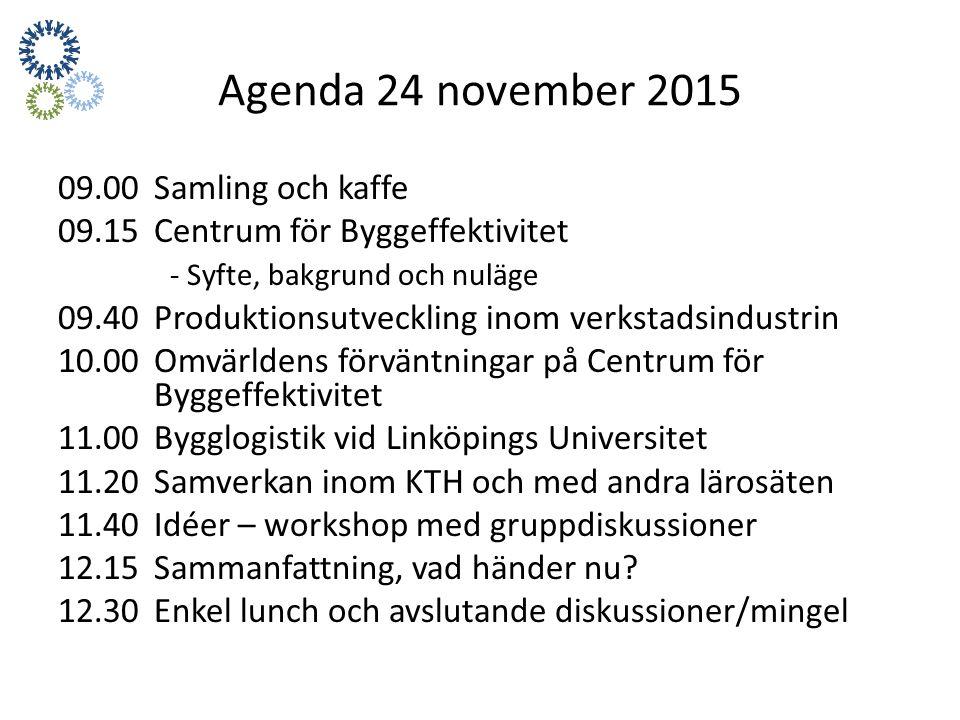 Agenda 24 november 2015 09.00 Samling och kaffe 09.15 Centrum för Byggeffektivitet - Syfte, bakgrund och nuläge 09.40Produktionsutveckling inom verkstadsindustrin 10.00 Omvärldens förväntningar på Centrum för Byggeffektivitet 11.00Bygglogistik vid Linköpings Universitet 11.20Samverkan inom KTH och med andra lärosäten 11.40Idéer – workshop med gruppdiskussioner 12.15 Sammanfattning, vad händer nu.