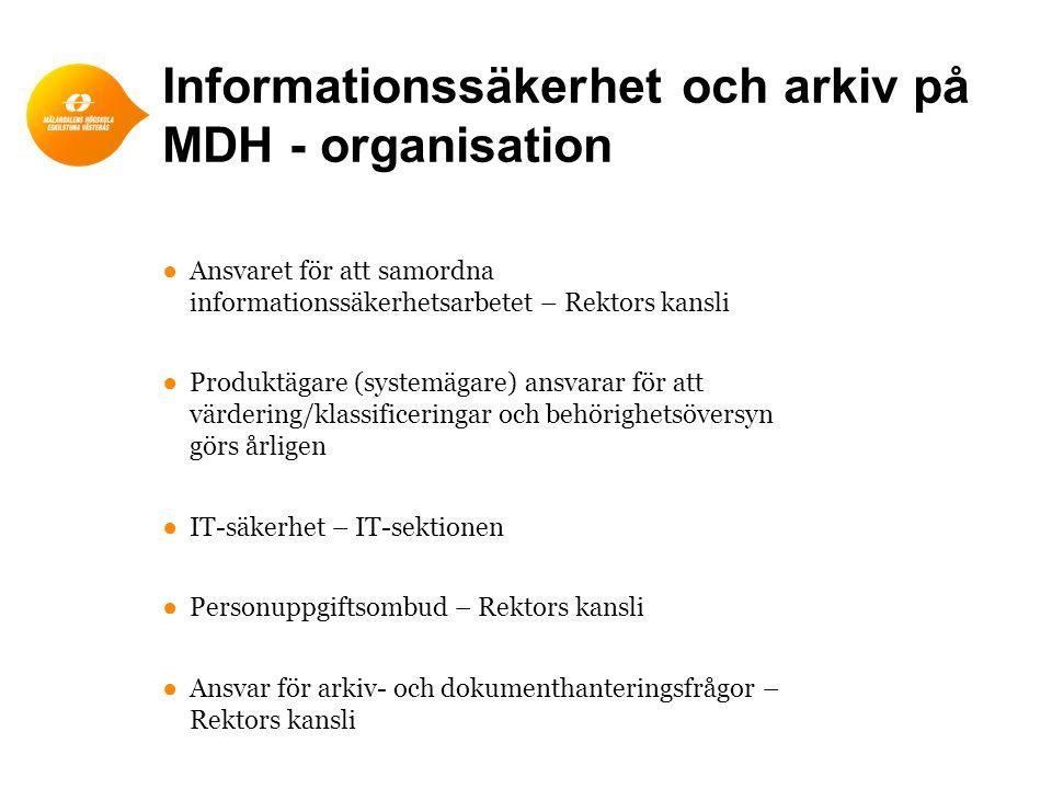 Informationssäkerhet och arkiv på MDH - organisation ●Ansvaret för att samordna informationssäkerhetsarbetet – Rektors kansli ●Produktägare (systemäga