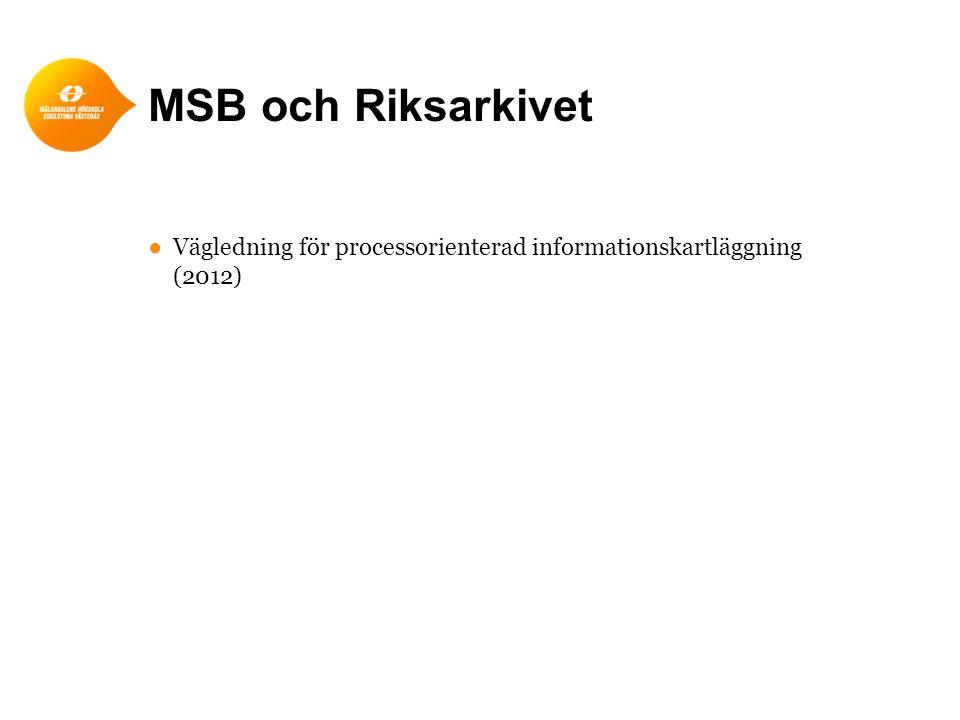 MSB och Riksarkivet ●Vägledning för processorienterad informationskartläggning (2012)