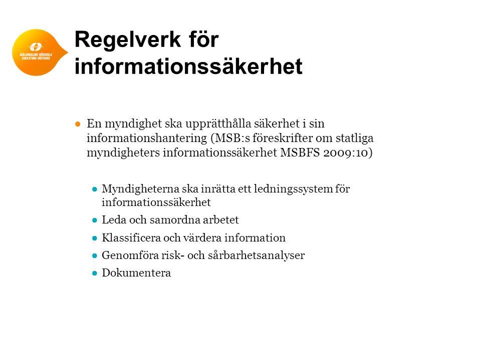 Regelverk för informationssäkerhet ●En myndighet ska upprätthålla säkerhet i sin informationshantering (MSB:s föreskrifter om statliga myndigheters in