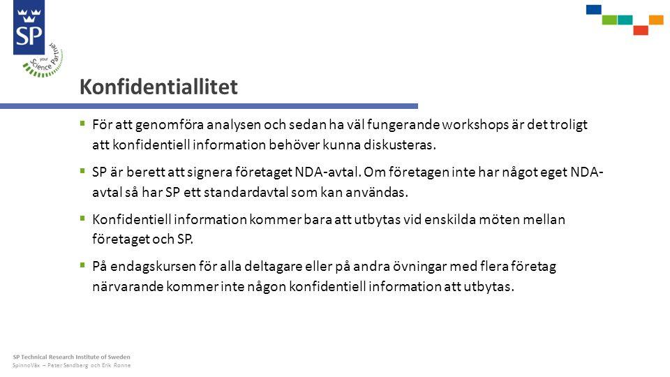 SpinnoVäx – Peter Sandberg och Erik Ronne Konfidentiallitet  För att genomföra analysen och sedan ha väl fungerande workshops är det troligt att konfidentiell information behöver kunna diskusteras.