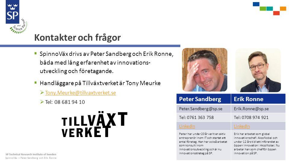 SpinnoVäx – Peter Sandberg och Erik Ronne Kontakter och frågor  SpinnoVäx drivs av Peter Sandberg och Erik Ronne, båda med lång erfarenhet av innovations- utveckling och företagande.