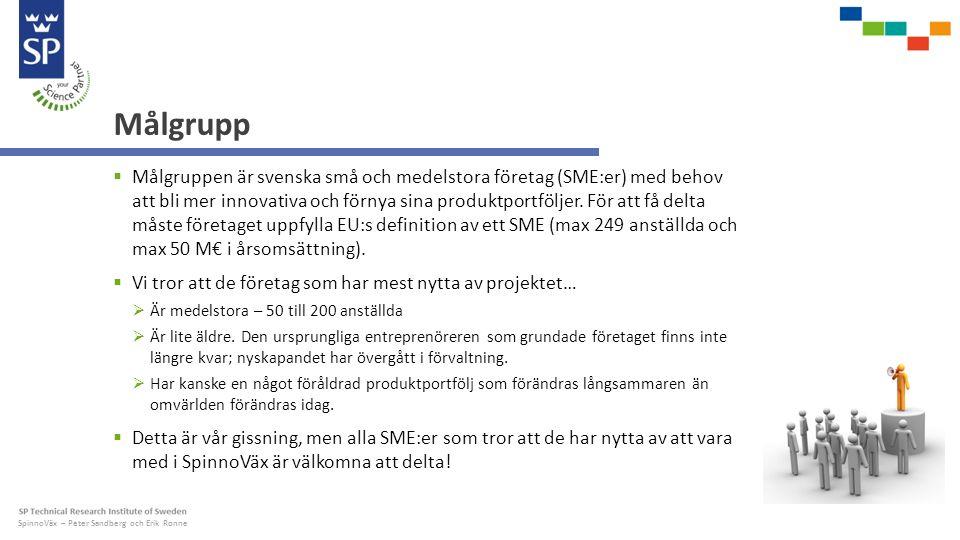 SpinnoVäx – Peter Sandberg och Erik Ronne Målgrupp  Målgruppen är svenska små och medelstora företag (SME:er) med behov att bli mer innovativa och förnya sina produktportföljer.