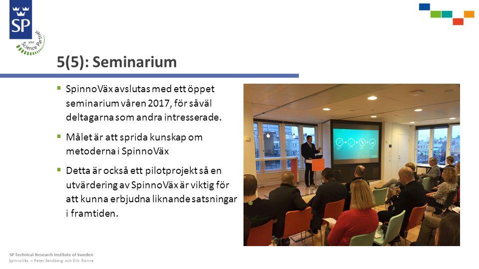 SpinnoVäx – Peter Sandberg och Erik Ronne 5(5): Seminarium  SpinnoVäx avslutas med ett öppet seminarium våren 2017, för såväl deltagarna som andra intresserade.