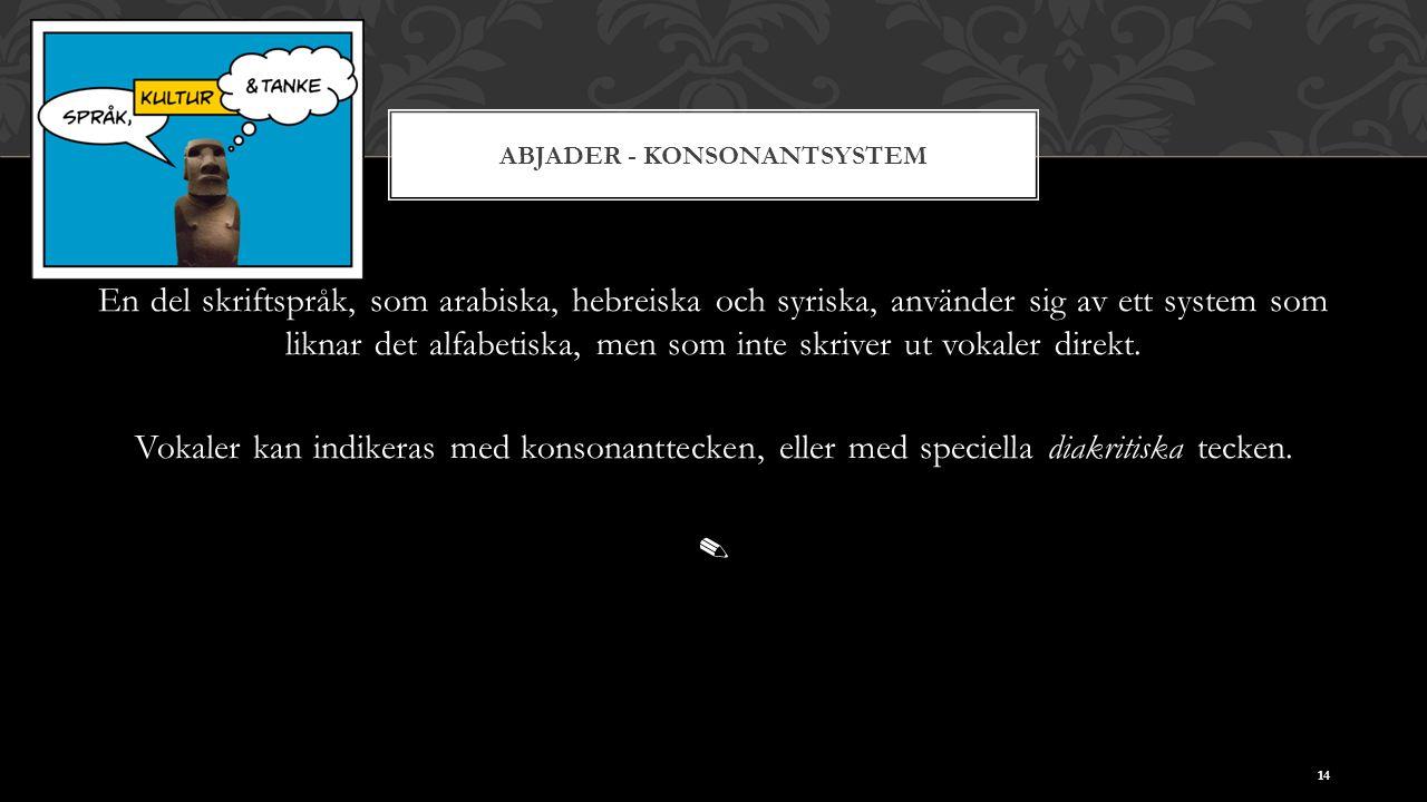 ABJADER - KONSONANTSYSTEM En del skriftspråk, som arabiska, hebreiska och syriska, använder sig av ett system som liknar det alfabetiska, men som inte
