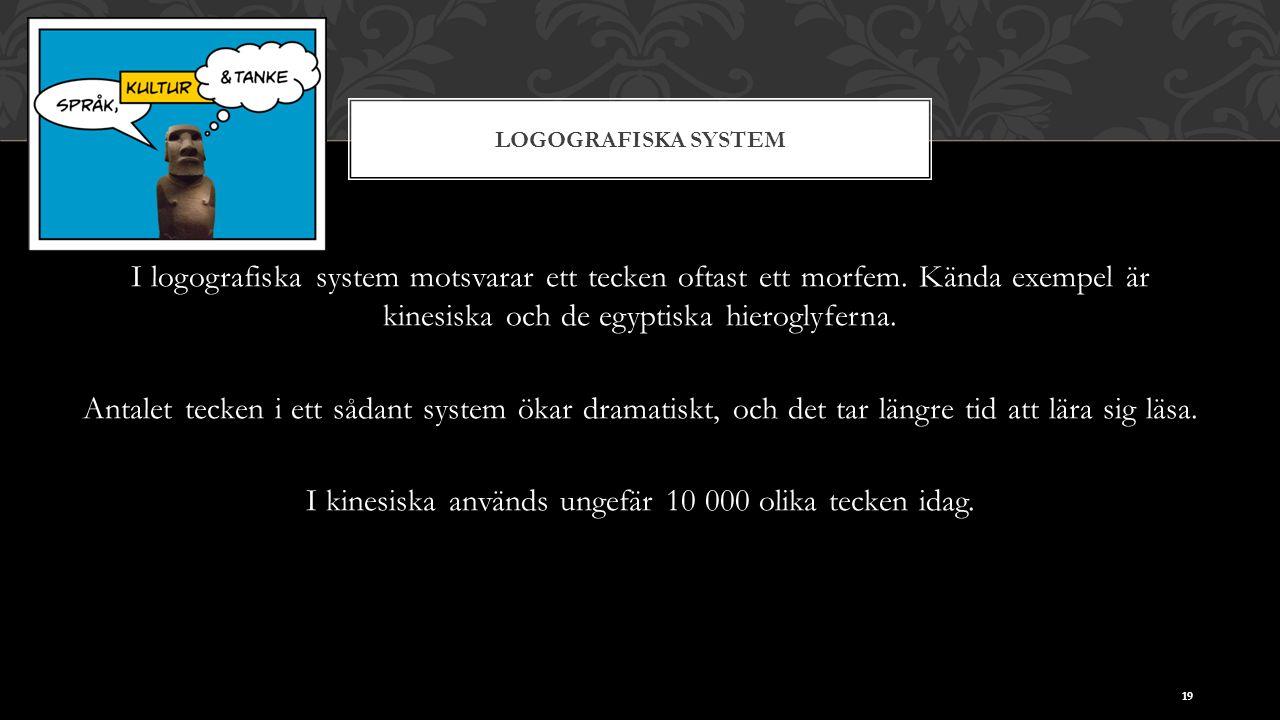 LOGOGRAFISKA SYSTEM I logografiska system motsvarar ett tecken oftast ett morfem. Kända exempel är kinesiska och de egyptiska hieroglyferna. Antalet t
