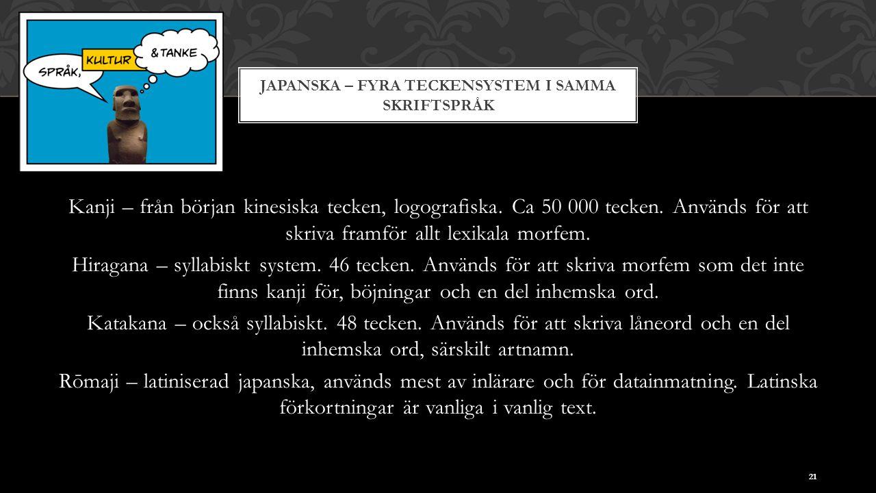 JAPANSKA – FYRA TECKENSYSTEM I SAMMA SKRIFTSPRÅK Kanji – från början kinesiska tecken, logografiska. Ca 50 000 tecken. Används för att skriva framför