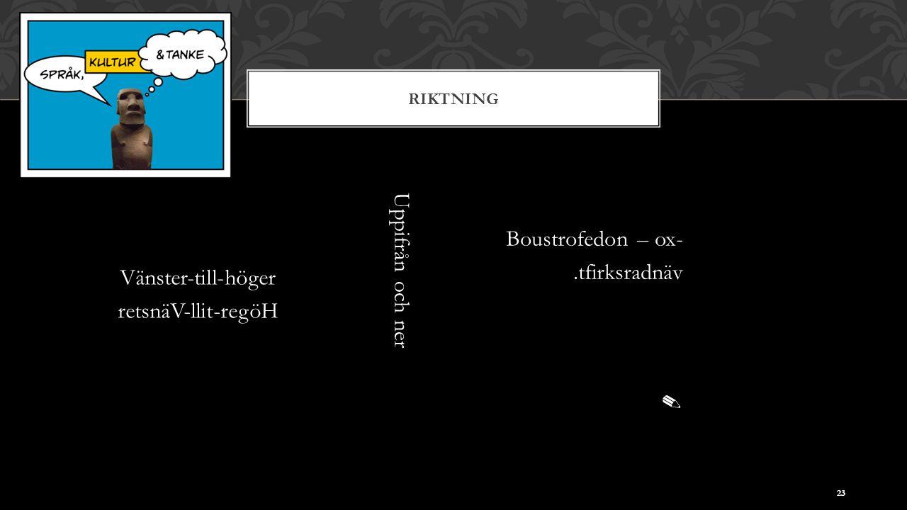 RIKTNING Vänster-till-höger retsnäV-llit-regöH 23 Uppifrån och ner Boustrofedon – ox-.tfirksradnäv ✎