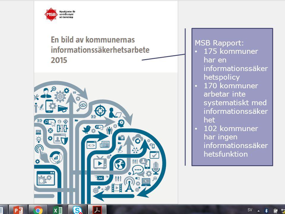 MSB Rapport: 175 kommuner har en informationssäker hetspolicy 170 kommuner arbetar inte systematiskt med informationssäker het 102 kommuner har ingen