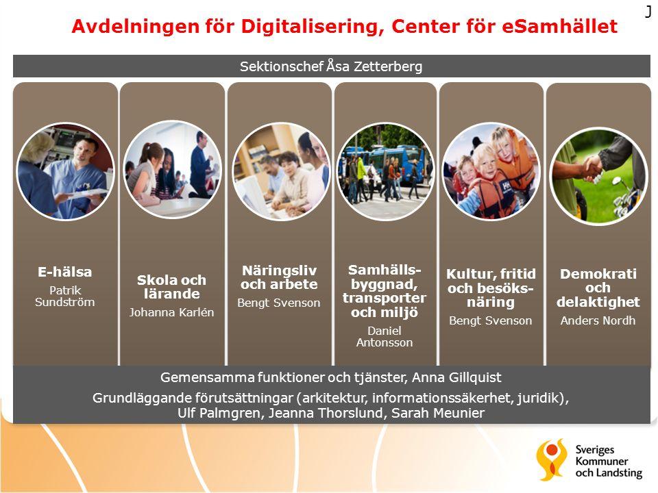 Avdelningen för Digitalisering, Center för eSamhället E-hälsa Patrik Sundström Skola och lärande Johanna Karlén Näringsliv och arbete Bengt Svenson Sa