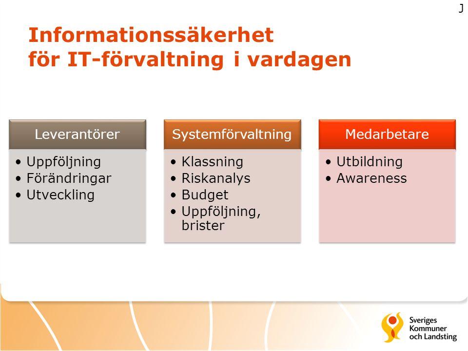 Informationssäkerhet för IT-förvaltning i vardagen Leverantörer Uppföljning Förändringar Utveckling Systemförvaltning Klassning Riskanalys Budget Uppf