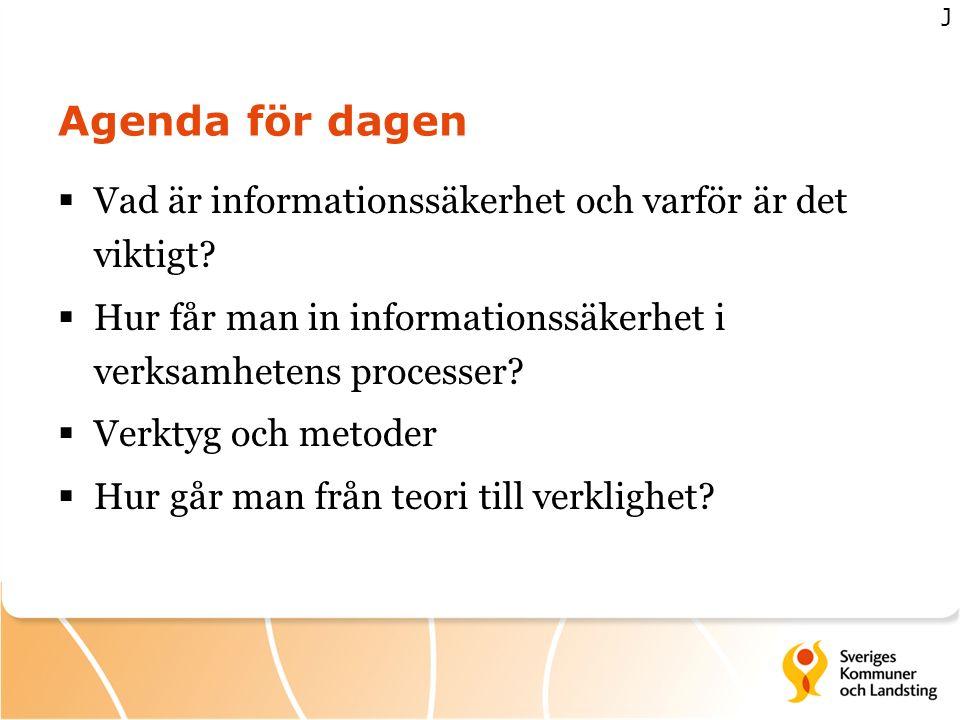 Agenda för dagen  Vad är informationssäkerhet och varför är det viktigt?  Hur får man in informationssäkerhet i verksamhetens processer?  Verktyg o