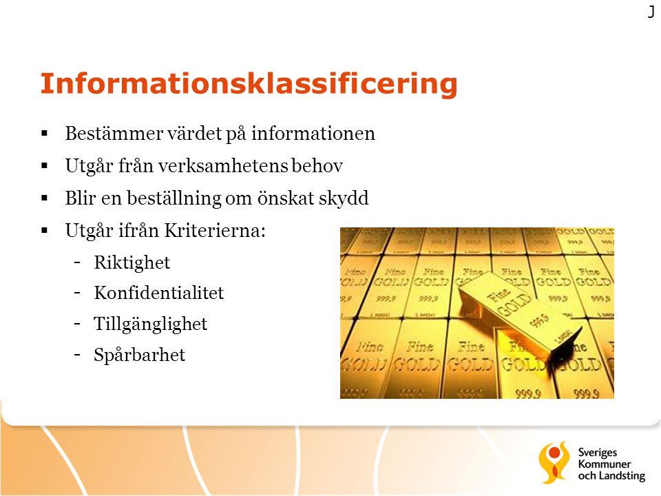 Informationsklassificering  Bestämmer värdet på informationen  Utgår från verksamhetens behov  Blir en beställning om önskat skydd  Utgår ifrån Kr