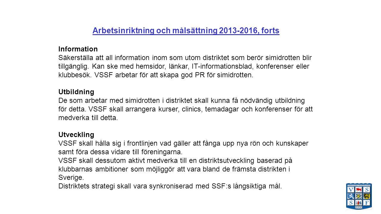 Arbetsinriktning och målsättning 2013-2016, forts Information Säkerställa att all information inom som utom distriktet som berör simidrotten blir tillgänglig.