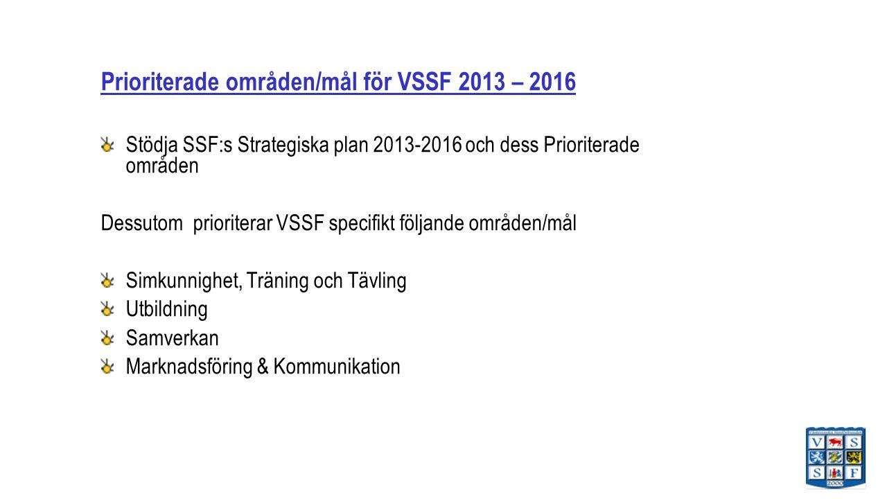 Prioriterade områden/mål för VSSF 2013 – 2016 Stödja SSF:s Strategiska plan 2013-2016 och dess Prioriterade områden Dessutom prioriterar VSSF specifikt följande områden/mål Simkunnighet, Träning och Tävling Utbildning Samverkan Marknadsföring & Kommunikation