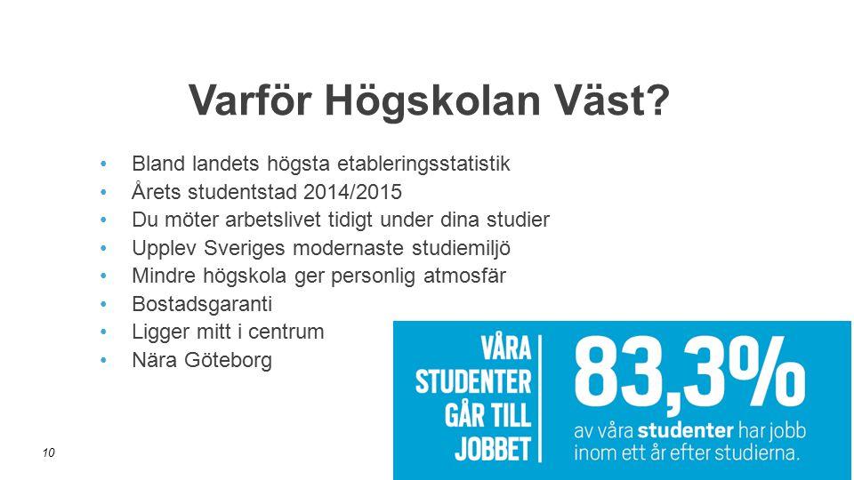 Bland landets högsta etableringsstatistik Årets studentstad 2014/2015 Du möter arbetslivet tidigt under dina studier Upplev Sveriges modernaste studie