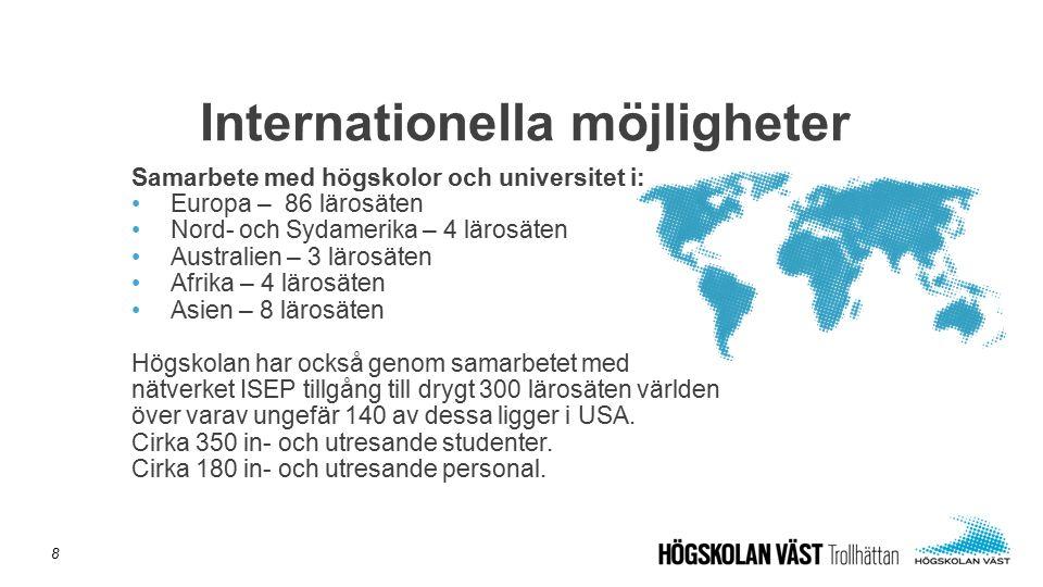 Samarbete med högskolor och universitet i: Europa – 86 lärosäten Nord- och Sydamerika – 4 lärosäten Australien – 3 lärosäten Afrika – 4 lärosäten Asie