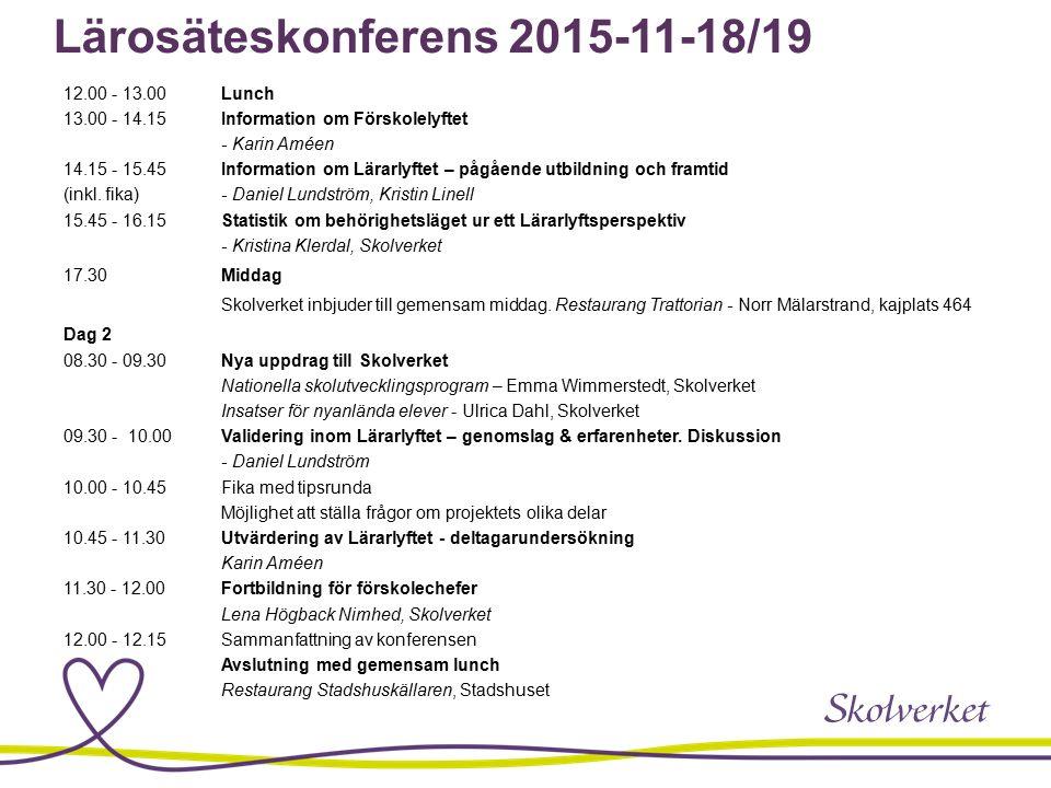 Lärosäteskonferens 2015-11-18/19 12.00 - 13.00Lunch 13.00 - 14.15Information om Förskolelyftet - Karin Améen 14.15 - 15.45Information om Lärarlyftet – pågående utbildning och framtid (inkl.