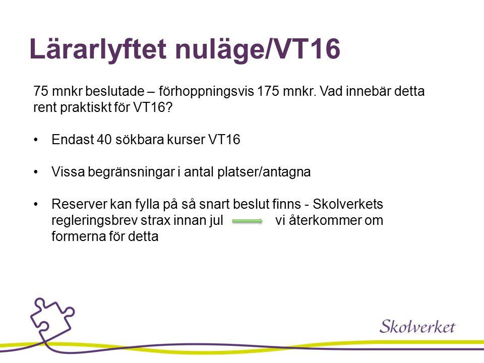 Lärarlyftet nuläge/VT16 75 mnkr beslutade – förhoppningsvis 175 mnkr.