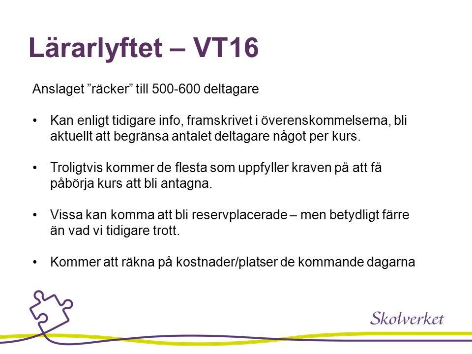 Lärarlyftet – VT16 Anslaget räcker till 500-600 deltagare Kan enligt tidigare info, framskrivet i överenskommelserna, bli aktuellt att begränsa antalet deltagare något per kurs.