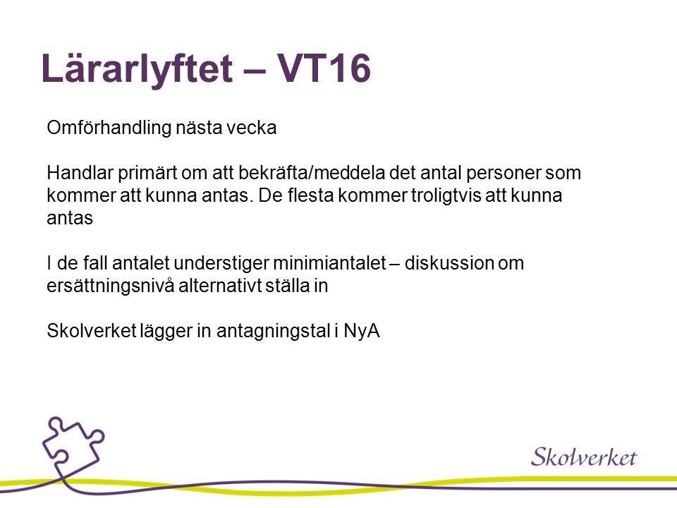 Lärarlyftet – VT16 Omförhandling nästa vecka Handlar primärt om att bekräfta/meddela det antal personer som kommer att kunna antas.