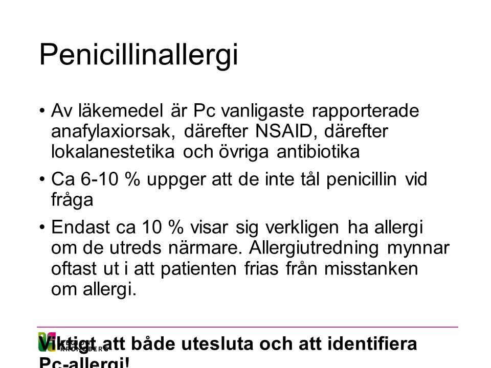 Penicillinallergi Av läkemedel är Pc vanligaste rapporterade anafylaxiorsak, därefter NSAID, därefter lokalanestetika och övriga antibiotika Ca 6-10 % uppger att de inte tål penicillin vid fråga Endast ca 10 % visar sig verkligen ha allergi om de utreds närmare.