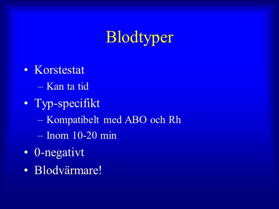 Blodtyper Korstestat –Kan ta tid Typ-specifikt –Kompatibelt med ABO och Rh –Inom 10-20 min 0-negativt Blodvärmare!