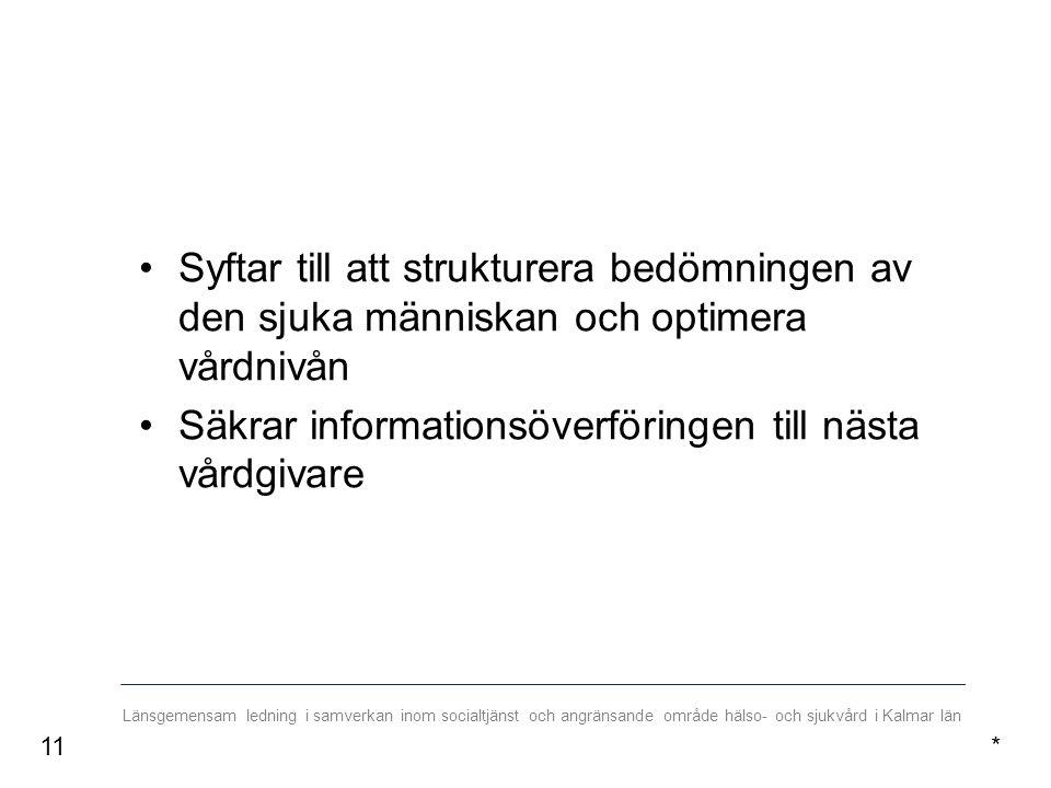 Länsgemensam ledning i samverkan inom socialtjänst och angränsande område hälso- och sjukvård i Kalmar län Syftar till att strukturera bedömningen av den sjuka människan och optimera vårdnivån Säkrar informationsöverföringen till nästa vårdgivare *11