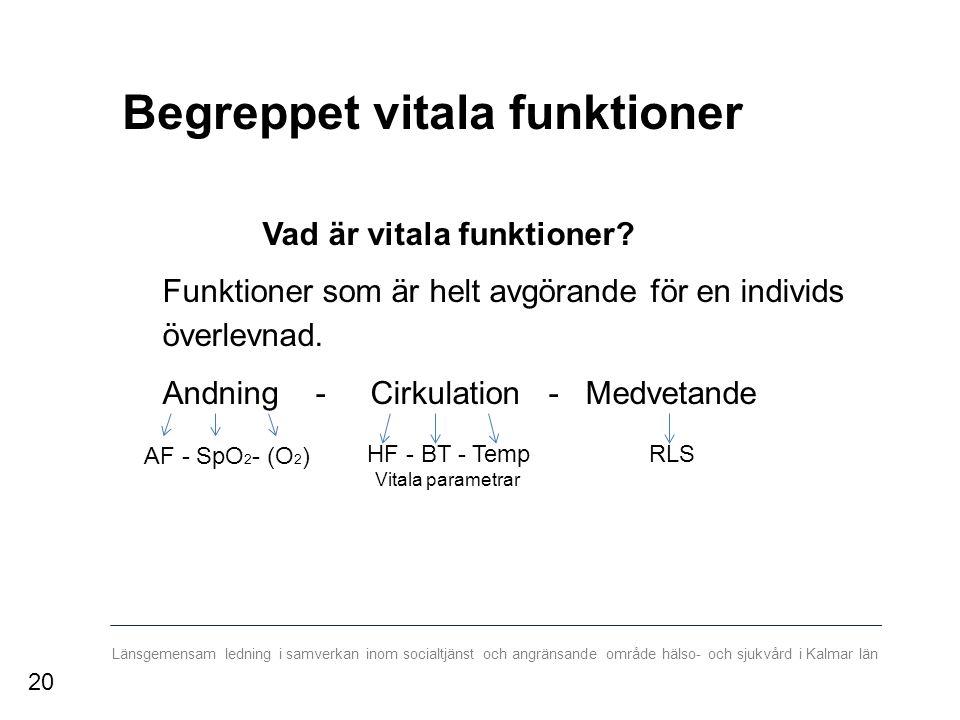 Länsgemensam ledning i samverkan inom socialtjänst och angränsande område hälso- och sjukvård i Kalmar län Begreppet vitala funktioner Vad är vitala funktioner.