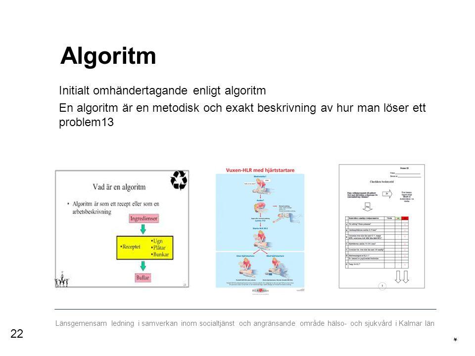 Länsgemensam ledning i samverkan inom socialtjänst och angränsande område hälso- och sjukvård i Kalmar län Algoritm Initialt omhändertagande enligt algoritm En algoritm är en metodisk och exakt beskrivning av hur man löser ett problem13 * 22