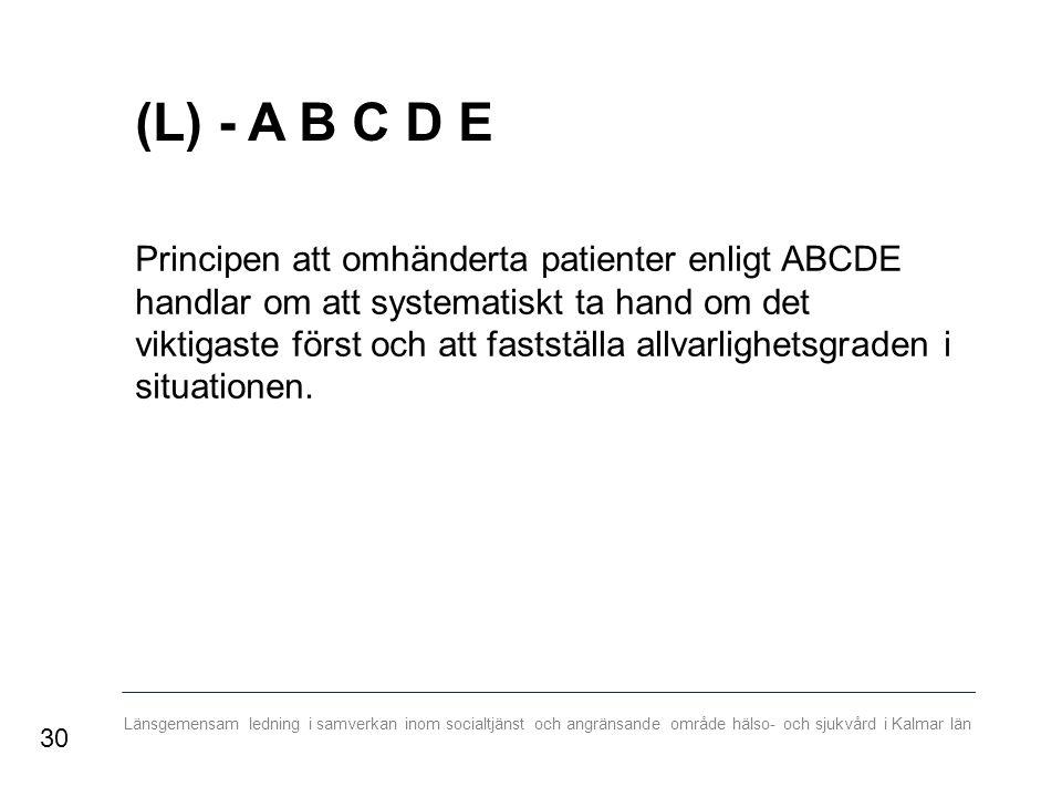 Länsgemensam ledning i samverkan inom socialtjänst och angränsande område hälso- och sjukvård i Kalmar län (L) - A B C D E Principen att omhänderta patienter enligt ABCDE handlar om att systematiskt ta hand om det viktigaste först och att fastställa allvarlighetsgraden i situationen.