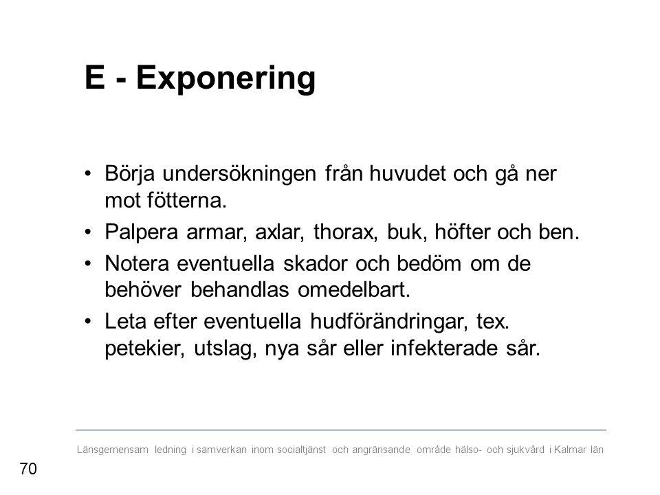 Länsgemensam ledning i samverkan inom socialtjänst och angränsande område hälso- och sjukvård i Kalmar län E - Exponering Börja undersökningen från huvudet och gå ner mot fötterna.