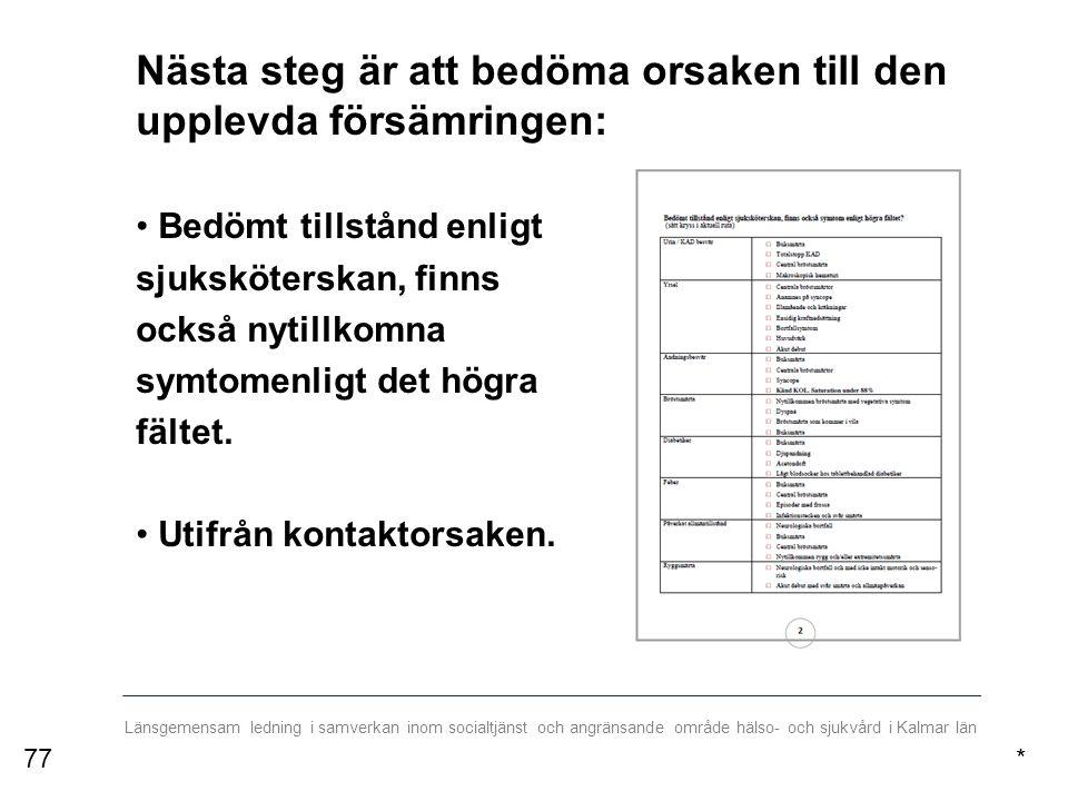 Länsgemensam ledning i samverkan inom socialtjänst och angränsande område hälso- och sjukvård i Kalmar län Nästa steg är att bedöma orsaken till den upplevda försämringen: Bedömt tillstånd enligt sjuksköterskan, finns också nytillkomna symtomenligt det högra fältet.