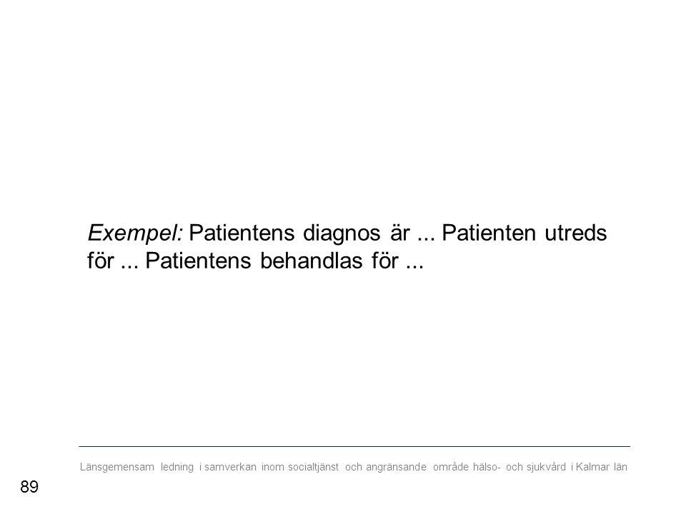 Länsgemensam ledning i samverkan inom socialtjänst och angränsande område hälso- och sjukvård i Kalmar län Exempel: Patientens diagnos är...
