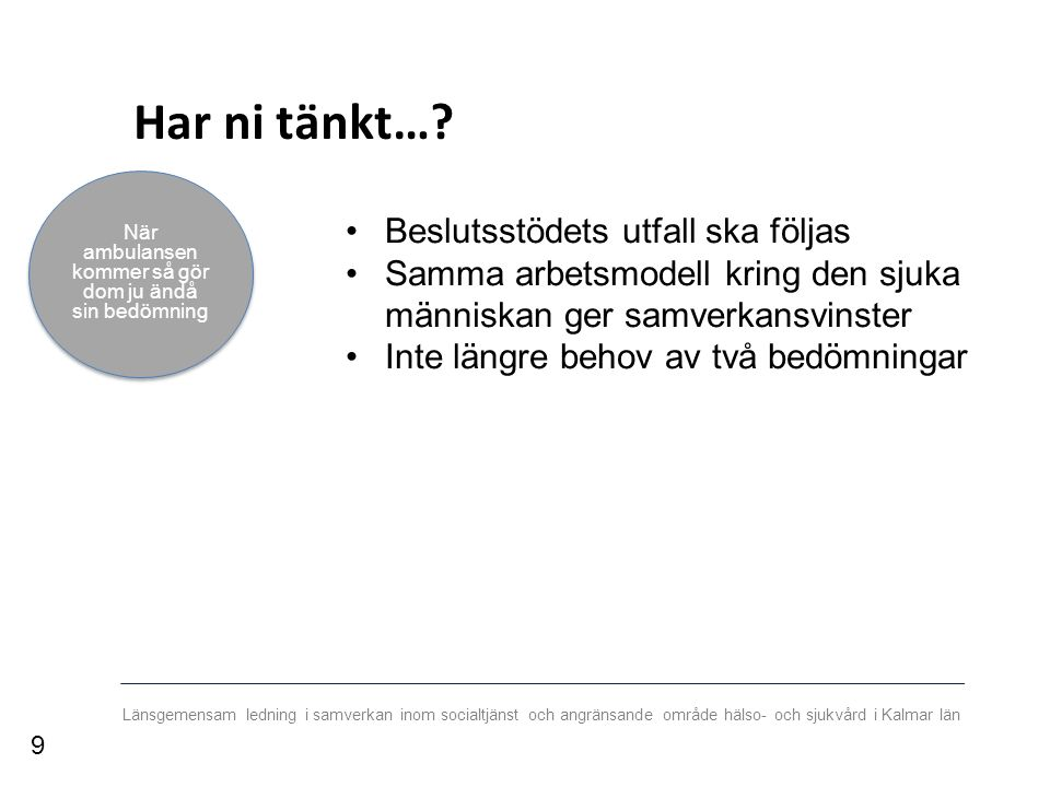 Länsgemensam ledning i samverkan inom socialtjänst och angränsande område hälso- och sjukvård i Kalmar län Bakgrund Beslutsstödet Är ett verktyg för ssk inom kommunal vård och omsorg Ska användas när den enskildes hälsotillstånd försämras Ger stöd för var den fortsatta vården ska bedrivas * 10